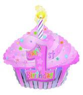 "22"" 1st Birthday Girl Cupcake Foil Balloon"