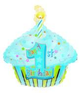 "22"" 1st Birthday Boy Cupcake Foil Balloon"
