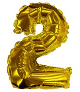 "8"" Gold #2 Shape Self Sealing Valve Foil Balloon"