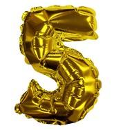 "8"" Gold #5 Shape Self Sealing Valve Foil Balloon"