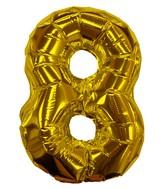 "8"" Gold #8 Shape Self Sealing Valve Foil Balloon"