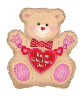 "31"" Happy Valentine's Day Tan Teddy Balloon"
