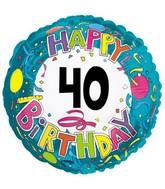"18"" Happy 40 Birthday Streamers"