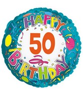 """17"""" Happy 50 Birthday Streamers Packaged"""