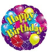 "18"" Happy Birthday Purple Balloons"