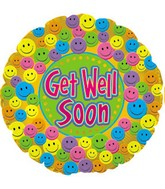 """18"""" Get Well Soon Smiley Faces"""