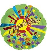 "17"" Congratulations Green Star Burst Packaged"