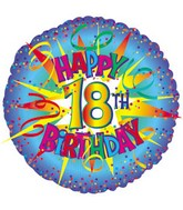 "17"" Happy Birthday 18th Burst Packaged"
