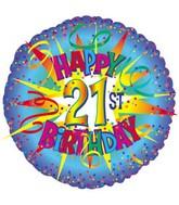 """17"""" Happy Birthday 21st Burst Packaged"""