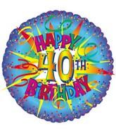 """18"""" Happy Birthday 40th Burst"""