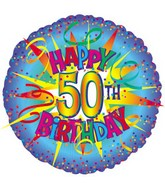 "17"" Happy Birthday 50th Burst Packaged"