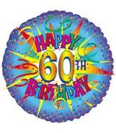 "17"" Happy Birthday 60th Burst Packaged"