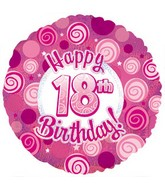 """17"""" Happy18th Birthday Pink Dazzeloon Packaged"""