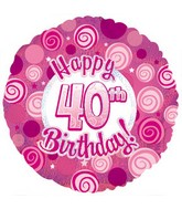 """17"""" Happy 40 Birthday Pink Dazzeloon Packaged"""