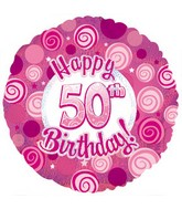 """18"""" Happy 50th Birthday Pink Dazzeloon"""