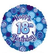 "18"" Happy 18th Birthday Blue Dazzeloon"