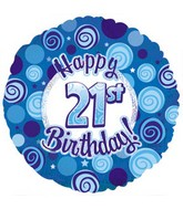 "18"" Happy 21st Birthday Blue Dazzeloon"