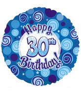 "18"" Happy 30 Birthday Blue Dazzeloon"