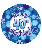 "18"" Happy 40 Birthday Blue Dazzeloon"