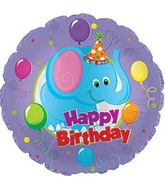 "9"" Airfill Happy Birthday Day Party Elephant Balloon"