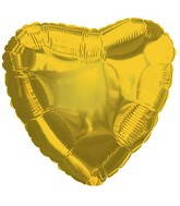 "9"" Airfill Only Yellow gold Heart Foil Balloon"
