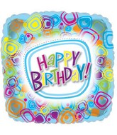 """17"""" Groovy Happy Birthday Square Packaged"""