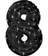 """38"""" Black Sparkle Eight Jumbo Number Balloon"""