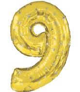 """38"""" Gold Sparkle Nine Jumbo Number Balloon"""