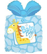 "28"" Baby Boy Present Shape Balloon"