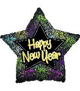 "18"" Happy New Year Fireworks Star Balloon"