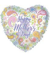 "17"" Happy Mother's Day Paisley Heart Balloon"