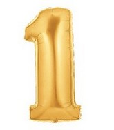 """40"""" Large Number Balloon 1 Gold"""
