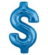 "40"" Megaloon Dollar Sign Blue $"
