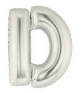 """40"""" Large Letter Balloon D Silver"""