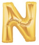 """40"""" Large Letter Balloon N Gold"""