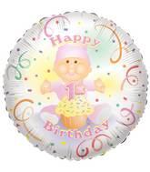 "18"" Baby 1st Birthday Girl Balloon"