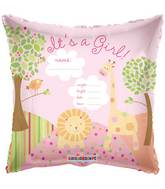 """18"""" It's A Girl Jungle Balloon Personalize writable"""