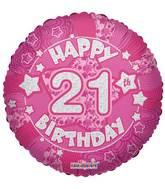 "18"" Holographic Pink Happy 21st  Birthday Balloon"