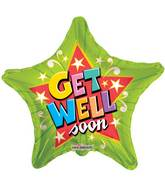 """9"""" Airfill Only Get Well Green Star Balloon"""