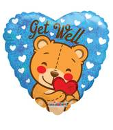 """18"""" Get Well Bear Holographic Balloon"""