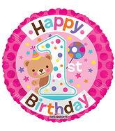 "18"" 1st Birthday Girl balloons"