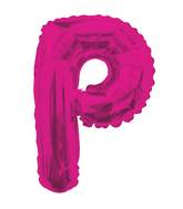 "14"" Airfill with Valve Only Letter P Hot Pink Balloon"