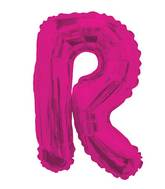 "14"" Airfill with Valve Only Letter R Hot Pink Balloon"