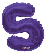 "14"" Airfill with Valve Only Number 5 Purple Balloon"