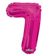 "14"" Airfill with Valve Only Number 7 Magenta Balloon"