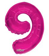 "14"" Airfill with Valve Only Number 9 Magenta Balloon"
