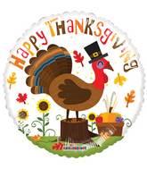 "18"" Happy Thanksgiving Turkey Gellibean Balloon"