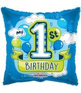 """18"""" 1st Birthday Boy Balloons Gellibean Balloon"""