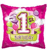 """18"""" 1st Birthday Girl Balloons Gellibean Balloon"""