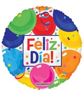 "18"" Feliz Dia Colorful Balloons Gellibean Balloon"